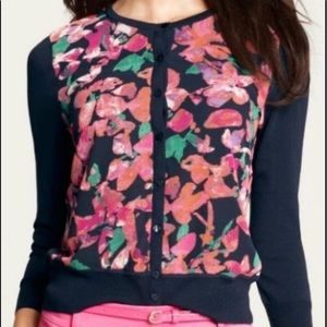 Ann Taylor Navy Floral Button Cardigan